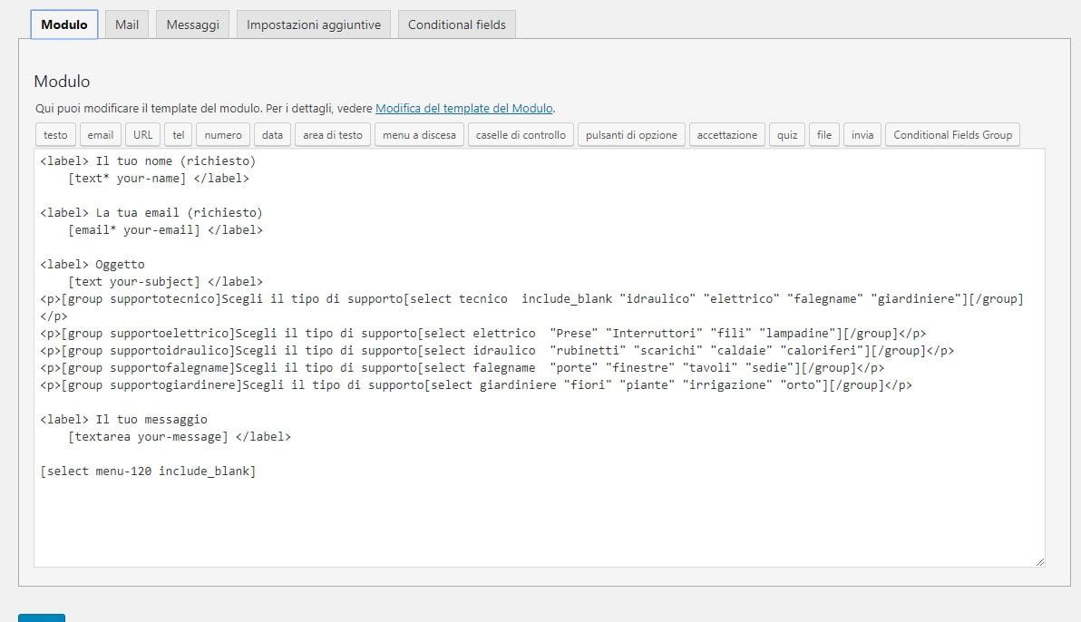 form compilato con gruppi conditional field