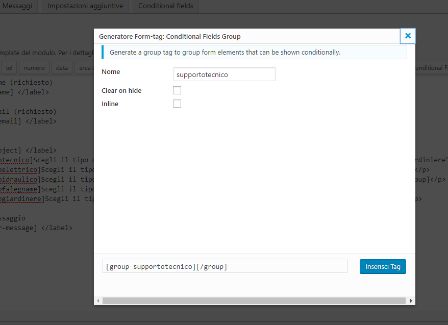 popup conditional fields